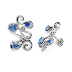 Zandra Rhodes Silver Blue Crystal Oriental Earrings