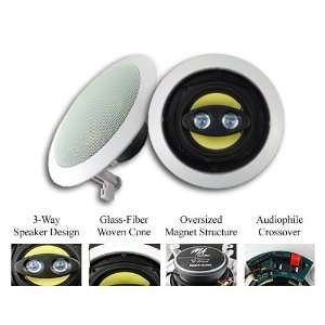 MA Audio MAT 53G Home Theater In Wall Surround Sound Stereo Speakers