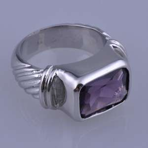On Sale Faceted Amethyst 18K White Gold Plated Ring Size 9 WR296