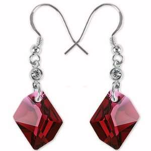 14mm Ruby Crystal Dangle Earrings. Made with Swarovski Eleme Jewelry