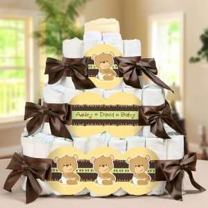 Baby Teddy Bear   3 Tier Personalized Square   Baby Shower