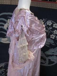 Titanic Edwardian Pink Silk Satin Lace Evening Gown Formal Dress Teens