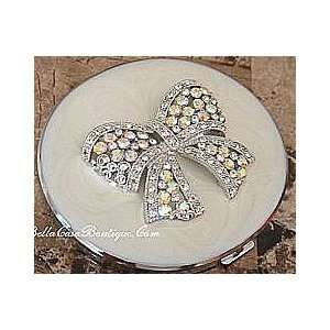 Mirror Compact  Pearl White Bow Tie   Jeweled & Beautiful