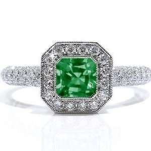 14Ct Emerald Cut Emerald &VS Diamond Engagement Ring 14K Gold Jewelry
