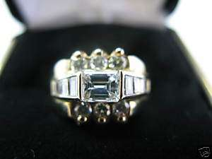 Fine Emerald Cut Diamond Engagement Ring YG 14KT 1.26Ct