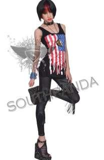 SL325 Black EMO Gothic Punk Rock Tights Pants Leggings