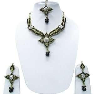 Design Purple Green Stone Necklace Earring Set India Jewelry Jewelry