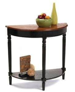 Country Cherry/Black Wood Entryway Table Shelf 095285409068
