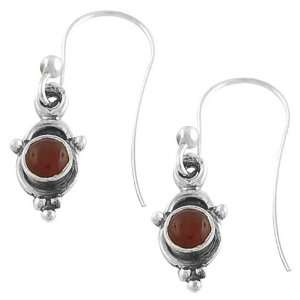 Captivating Round Red Onyx 925 Sterling Silver Cute Dangle