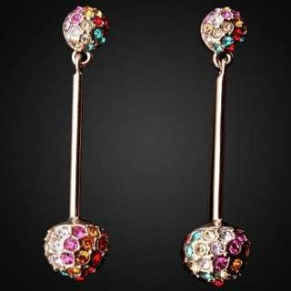 Swarovski Colorful Crystal Gold GP Cute Dangle Earrings