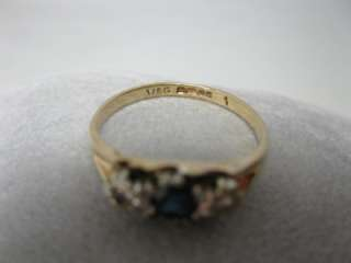 Sapphire Diamonds 9K Rose Gold Edwardian Victorian Ring