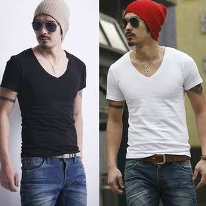 Mens High quality Plain DEEP V Neck Base T shirt Black/White P191 free