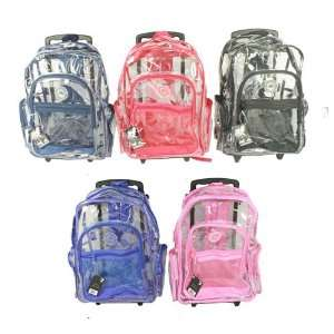 New Clear Rolling Backpack on Wheels 18 Many Colors