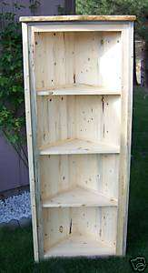 Rustic Blue Pine Log Corner Shelves, lodge, cabin, storage, display