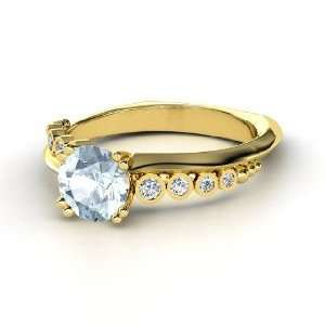Isabella Ring, Round Aquamarine 14K Yellow Gold Ring with