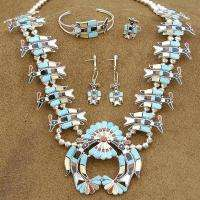 ZUNI 925 Sterling Turquoise Peyote Bird Necklace Set