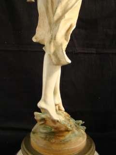 Old FRENCH Art Nouveau FIGURAL Lady MOREAU STATUE Lamp JB HIRSCH
