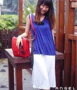 G1844 Womens Personality Blue T Shirt+Long Vest Dress