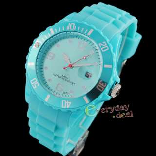 2012s Fashion Multi Color Gel Rubber Unisex Wrist Watch Sports Date