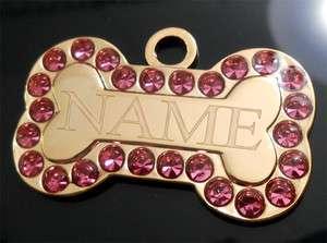 Pink Lrg Bone Pet ID Identification Charm Tag Cat Dog Collar
