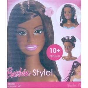 African American Barbie Styling Head Blue Base 10+ Pieces Toys