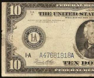 LARGE 1914 $10 DOLLAR BILL FEDERAL RESERVE NOTE OLD PAPER MONEY Fr