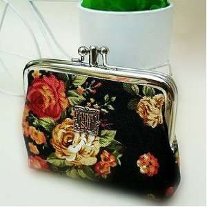 Anna Sui Vintage Floral Victorian Style Double Pockets Coin Purse