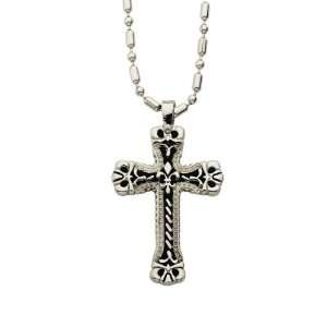 Stainless Steel Gothic Style Cross on 22 Bead Chain Mens