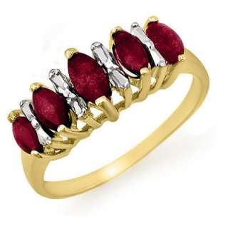 Overstock Certified .88ctw Ruby Ladies Ring Yellow Gold