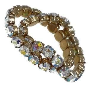 Fiery Double Gold Aurora Borealis Crystal Elasticated