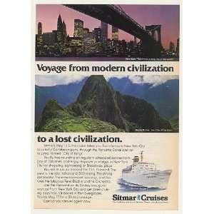 1977 Sitmar Cruise Fairwind Ship NY WTC Machu Picchu Print