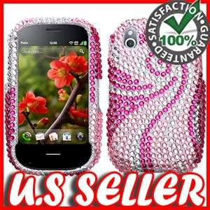SILVER HOT PINK BLING HARD CASE COVER FOR PALM PRE 2