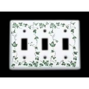 Wall Plates White Porcelain, Ivy Triple Toggle switch plate