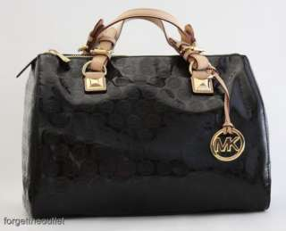 Michael KORS Grayson BLACK Mirror Monogram LARGE SATCHEL Bag $328
