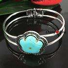 Fashion Lady Tibetan Silver Flower Turquoise Alloy Pendant Chain