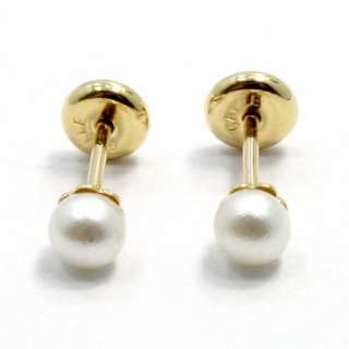 Gold 18k GF High Security Safety Tiny 4mm White Pearl Earrings Baby