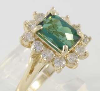 EGL Certified 14k Gold Green Tourmaline Diamond Ring
