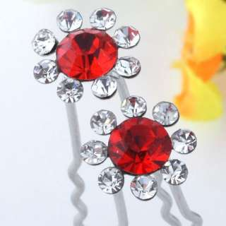 Bridal Clear Crystal Flower Hairpins Lady Wedding Wholesale