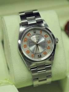 Stainless Steel Rolex Air King Concentric Orange dial 14000M F Serial