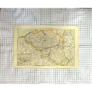 ANTIQUE MAP BELGIUM LUXEMBURG CHARLEROL PRUSSIA NAMURA