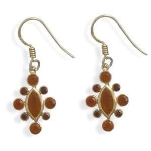 Garnet and Carnelian 14 Karat Gold Plated Earrings Jewelry