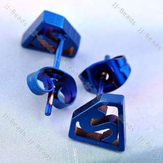 2pc Dark Blue Superman Symbol Logo Stainless Steel Earring Studs Men