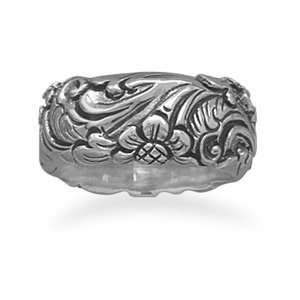 Oxidized Sterling Silver Ring With Floral Design Band Band