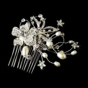 Lovely Silver Floral Hair Comb Freshwater Pearls & Clear