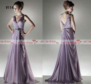 Full length Chiffon Belt Evening Dress Prom Gown Wedding Dress New