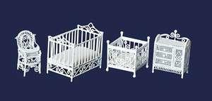 Scale dollhouse Miniature furniture nursery baby room crib set