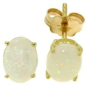 14K. SOLID GOLD STUD EARRING WITH NATURAL OPALS #4364 Jewelry
