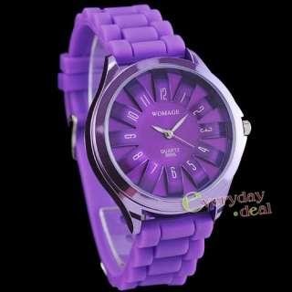 Gel Jelly Strap Bracelet Military Lady Girl Quartz Sport Watch