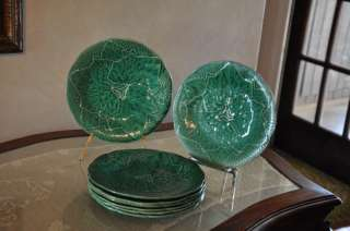 Antique Green French Gien Majolica Plate Leaf Pattern