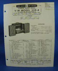 Voice of Music Service Manual Model 359 4 Record Player